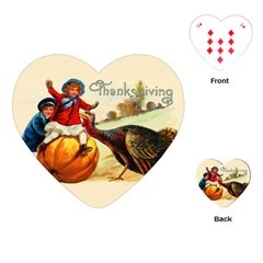Vintage Thanksgiving Playing Cards (heart)  by Valentinaart