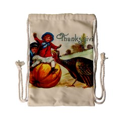 Vintage Thanksgiving Drawstring Bag (small) by Valentinaart