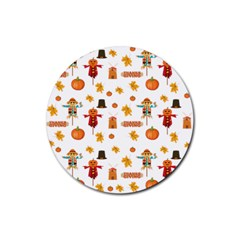Thanksgiving Rubber Round Coaster (4 Pack)  by Valentinaart