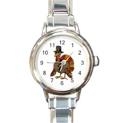 Thanksgiving Turkey  Round Italian Charm Watch by Valentinaart