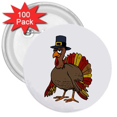 Thanksgiving Turkey  3  Buttons (100 Pack)  by Valentinaart