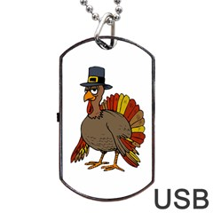 Thanksgiving Turkey  Dog Tag Usb Flash (two Sides) by Valentinaart