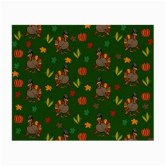 Thanksgiving Turkey  Small Glasses Cloth (2 Side) by Valentinaart