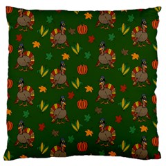 Thanksgiving Turkey  Large Cushion Case (two Sides) by Valentinaart