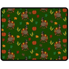 Thanksgiving Turkey  Double Sided Fleece Blanket (medium)  by Valentinaart