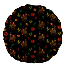 Thanksgiving Turkey  Large 18  Premium Flano Round Cushions by Valentinaart