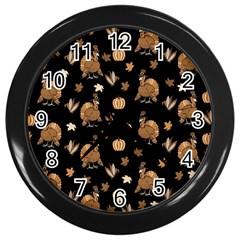 Thanksgiving Turkey  Wall Clocks (black) by Valentinaart
