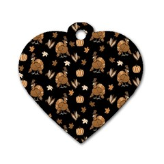 Thanksgiving Turkey  Dog Tag Heart (two Sides) by Valentinaart