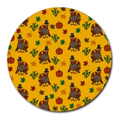Thanksgiving Turkey  Round Mousepads by Valentinaart