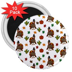 Thanksgiving Turkey  3  Magnets (10 Pack)  by Valentinaart