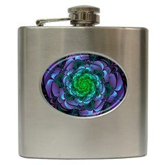 Beautiful Purple & Green Aeonium Arboreum Zwartkop Hip Flask (6 Oz) by jayaprime