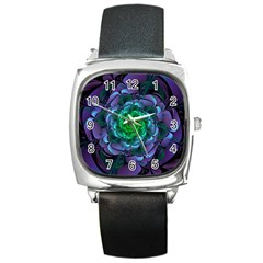 Beautiful Purple & Green Aeonium Arboreum Zwartkop Square Metal Watch by jayaprime