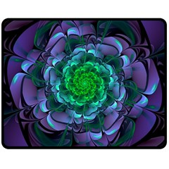Beautiful Purple & Green Aeonium Arboreum Zwartkop Double Sided Fleece Blanket (medium)  by beautifulfractals