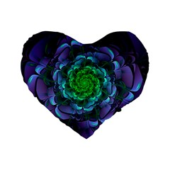 Beautiful Purple & Green Aeonium Arboreum Zwartkop Standard 16  Premium Flano Heart Shape Cushions by jayaprime