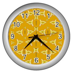 Fishes Talking About Love And   Yellow Stuff Wall Clocks (silver)  by pepitasart
