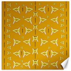 Fishes Talking About Love And   Yellow Stuff Canvas 16  X 16   by pepitasart