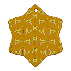 Fishes Talking About Love And   Yellow Stuff Snowflake Ornament (two Sides) by pepitasart