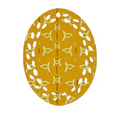 Fishes Talking About Love And   Yellow Stuff Oval Filigree Ornament (two Sides) by pepitasart