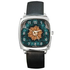 Beautiful Paradise Chrysanthemum Of Orange And Aqua Square Metal Watch by jayaprime