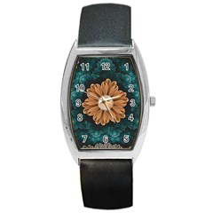 Beautiful Paradise Chrysanthemum Of Orange And Aqua Barrel Style Metal Watch by jayaprime