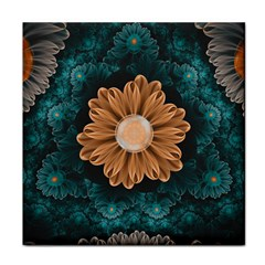 Beautiful Paradise Chrysanthemum Of Orange And Aqua Face Towel by beautifulfractals