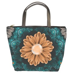 Beautiful Paradise Chrysanthemum Of Orange And Aqua Bucket Bags by jayaprime
