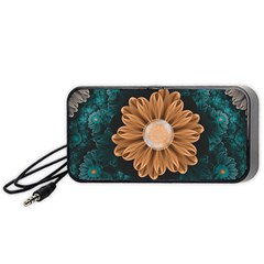 Beautiful Paradise Chrysanthemum Of Orange And Aqua Portable Speaker by beautifulfractals