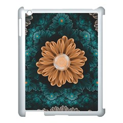 Beautiful Paradise Chrysanthemum Of Orange And Aqua Apple Ipad 3/4 Case (white) by beautifulfractals