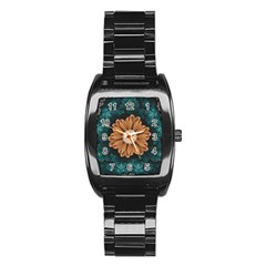 Beautiful Paradise Chrysanthemum Of Orange And Aqua Stainless Steel Barrel Watch by jayaprime