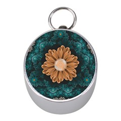 Beautiful Paradise Chrysanthemum Of Orange And Aqua Mini Silver Compasses by beautifulfractals