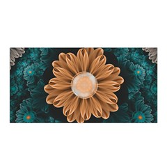Beautiful Paradise Chrysanthemum Of Orange And Aqua Satin Wrap by jayaprime