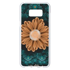 Beautiful Paradise Chrysanthemum Of Orange And Aqua Samsung Galaxy S8 Plus White Seamless Case by jayaprime