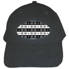 Snowflakes   Christmas Pattern Black Cap by Valentinaart