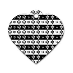 Snowflakes   Christmas Pattern Dog Tag Heart (one Side) by Valentinaart