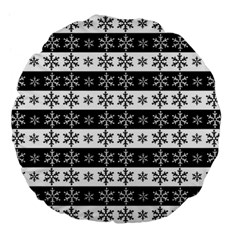 Snowflakes   Christmas Pattern Large 18  Premium Flano Round Cushions by Valentinaart