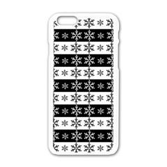 Snowflakes   Christmas Pattern Apple Iphone 6/6s White Enamel Case by Valentinaart
