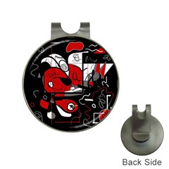 Red Black And White Abstraction Hat Clips With Golf Markers