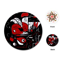 Red Black And White Abstraction Playing Cards (round)  by Valentinaart