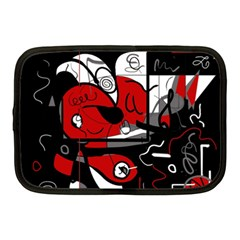 Red Black And White Abstraction Netbook Case (medium)  by Valentinaart