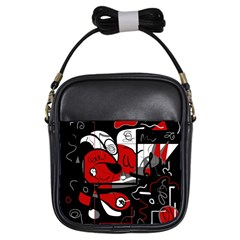 Red Black And White Abstraction Girls Sling Bags by Valentinaart
