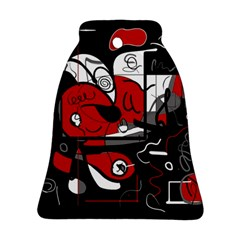 Red Black And White Abstraction Bell Ornament (two Sides) by Valentinaart