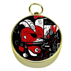 Red Black And White Abstraction Gold Compasses by Valentinaart