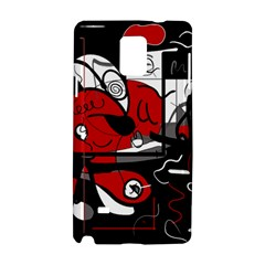Red Black And White Abstraction Samsung Galaxy Note 4 Hardshell Case by Valentinaart