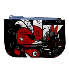 Red Black And White Abstraction Large Coin Purse by Valentinaart