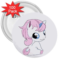 Baby Unicorn 3  Buttons (100 Pack)  by Valentinaart