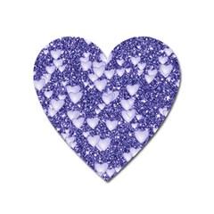 Hearts On Sparkling Glitter Print, Blue Heart Magnet by MoreColorsinLife