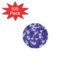 Hearts On Sparkling Glitter Print, Blue 1  Mini Buttons (100 Pack)  by MoreColorsinLife