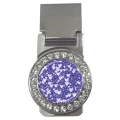 Hearts On Sparkling Glitter Print, Blue Money Clips (cz)  by MoreColorsinLife