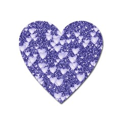 Hearts On Sparkling Glitter Print, Blue Heart Magnet by MoreColorsinLife