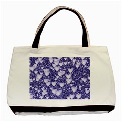 Hearts On Sparkling Glitter Print, Blue Basic Tote Bag by MoreColorsinLife